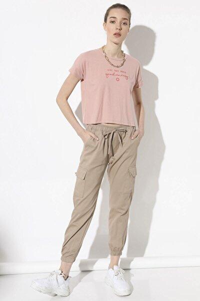 Kadın Camel Kargo Cep Pantolon