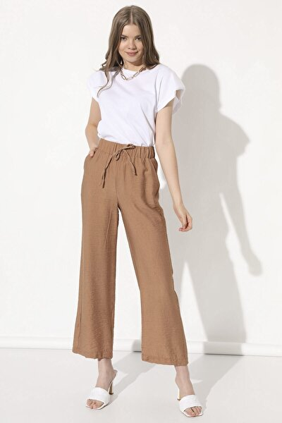 Kadın Camel Bol Paça Keten Pantolon