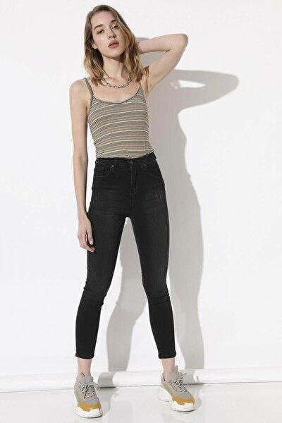Kadın Taşlanmış Siyah Yüksek Bel Pantolon