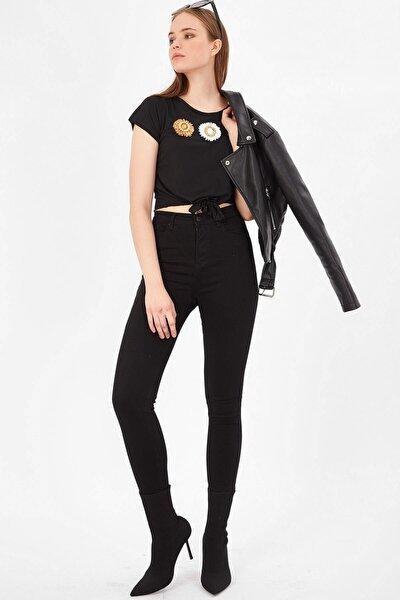 Kadın Siyah Yüksek Bel Basic Pantolon