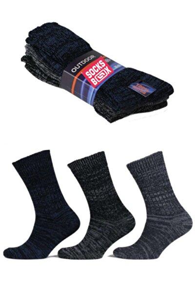 Erkek Siyah Outdoor Termal Etkili Kışlık Jeans Çorap 3 Adet