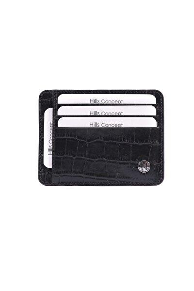 Unisex Siyah Double Slim Croco  Kartlık