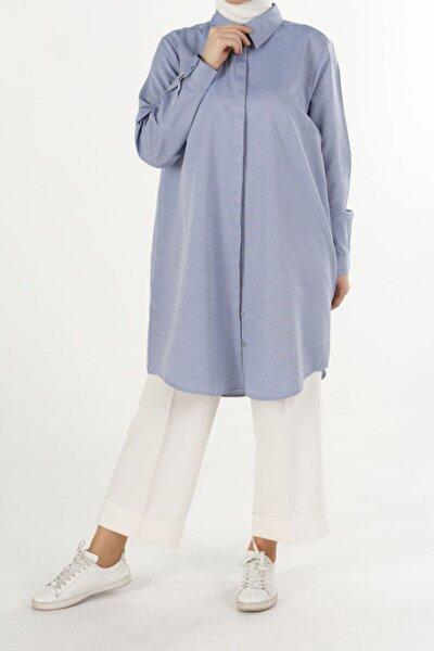 Kadın Mavi Büyük Beden Gömlek Tunik