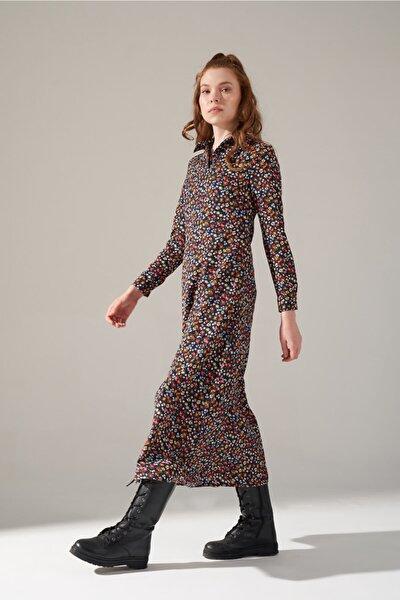 Desenli Gömlek Yaka Elbise (indigo)
