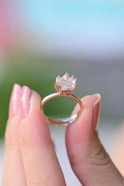 Kadın Beyaz Lotus Çiçeği Ayarlanabilir Ölçülü 925 Ayar Gümüş Yüzük