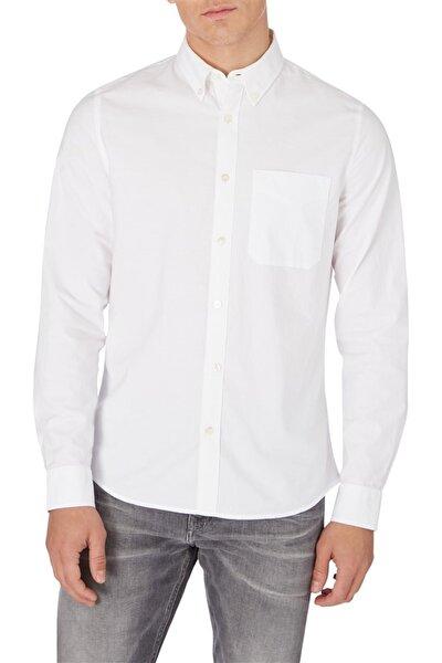 Erkek Beyaz Oxford Solıd Slım Non Stretch Gömlek