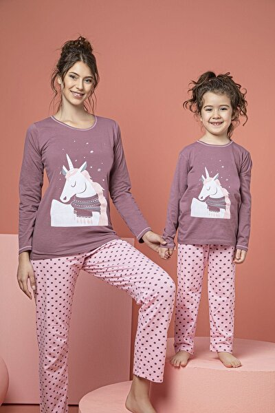 Kadın Pembe Pamuklu Likralı Pijama Takım