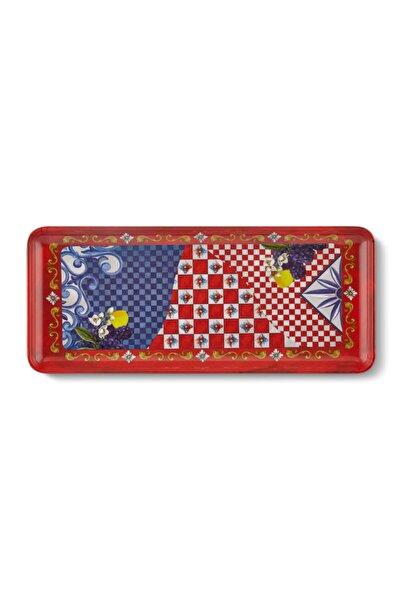 Capri Kırmızı Mavi Servis Tabağı 35,5*15 Cm