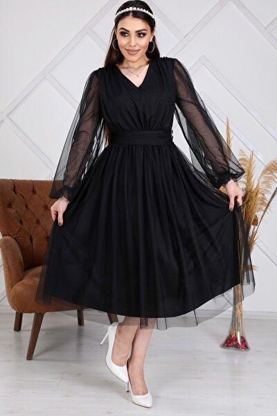 Kadın Siyah Tül Kısa Tasarım Elbise