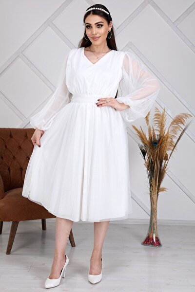 Kadın Beyaz Tül Kısa Tasarım Elbise