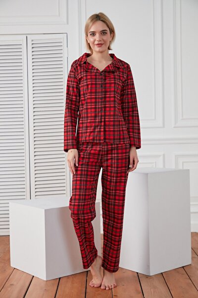 Kadın Kırmızı Kareli Örme Pijama Takımı