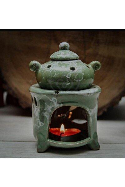 Çaydanlık Şeklinde Yesıl Seramik Buhurdanlık