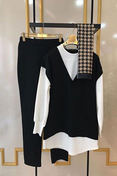 Kadın Siyah Gömlek Detaylı 2'li Takım