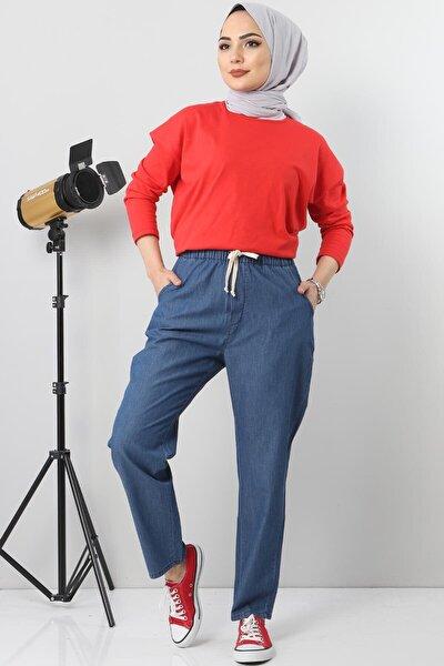Kadın Koyu Mavi Beli Lastikli Kot Pantolon Tsd1620