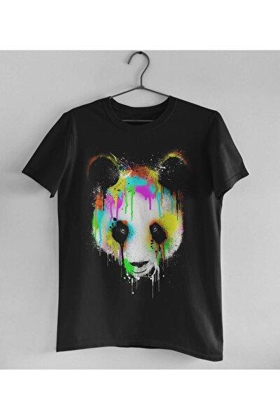 Unisex Siyah Sulu Boya Görünümlü Grafik Desenli Panda T-shirt