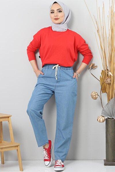 Kadın Mavi Beli Lastikli Kot Pantolon