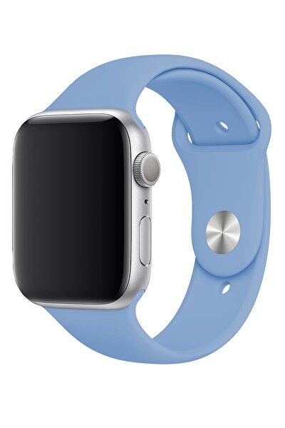 Mavi Apple Watch 44mm A+ Yüksek Kalite Spor Klasik Silikon Kordon Kayış Bileklik