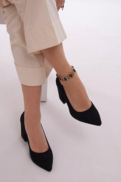 Kadın Siyah Süet Kalın Topuklu Stiletto Ayakkabı