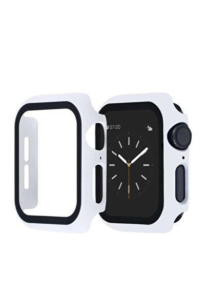 Apple Watch Seri 2/3/4/5/6 44mm Kasa Ve Ekran Koruyucu Beyaz