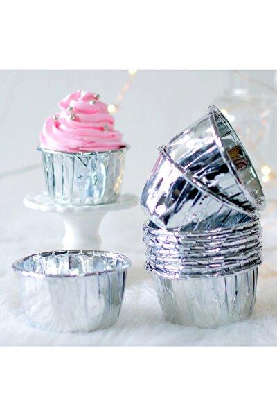 Metalik Gümüş Cupcake (muffin) Kabı 20 Adet