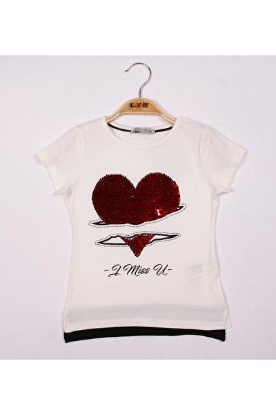 Kız Çocuk Ekru Pullu Kalpli Tişört