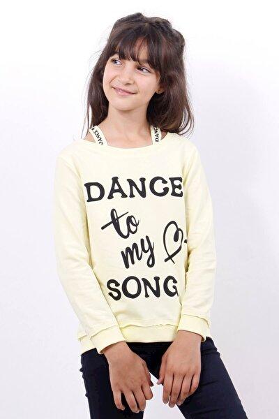 Kız Çocuk Sarı Dange Baskılı Sweatshirt