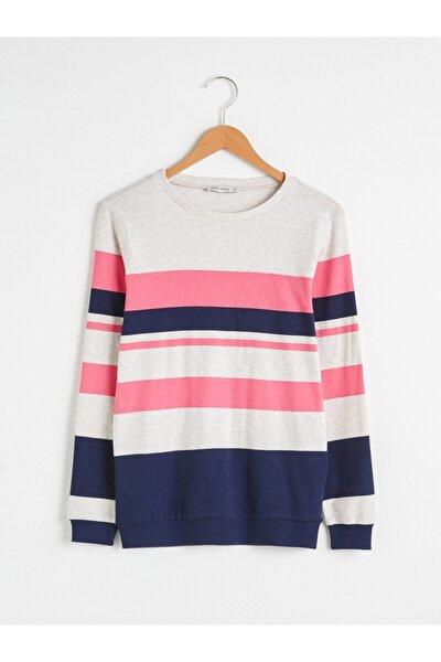 Kadın Pembe Çizgili Sweatshirt