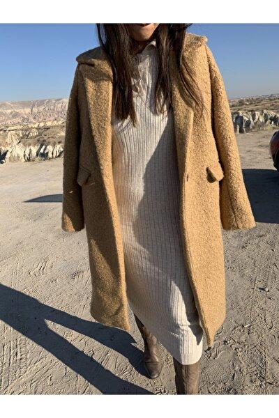 Kadın Camel Buklet Kaban