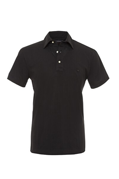 Erkek Siyah Düz Renkli Gömlek Yakalı Polo T-Shirt