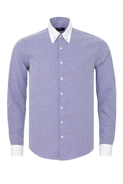 Erkek Lacivert Beyaz Desenli Slim Fit Yaka İğneli Gömlek