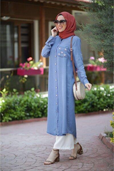 Kadın Mavi Taşlı Tunik