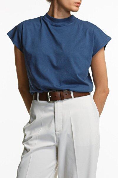 Dik Yaka Mavi T-shirt