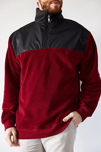 Erkek Bordo Deri Garnili Polar Sweatshirt 1kxe8-44233-05
