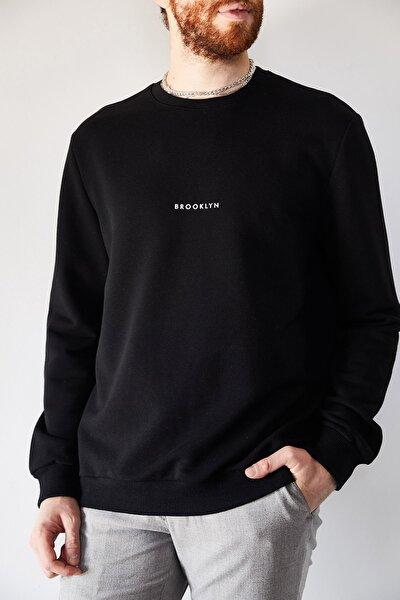 Erkek Siyah Brooklyn Baskılı Sweatshirt 1kxe8-44229-02