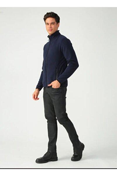 Erkek Lacivert Boydan Fermuarlı Sweatshirt