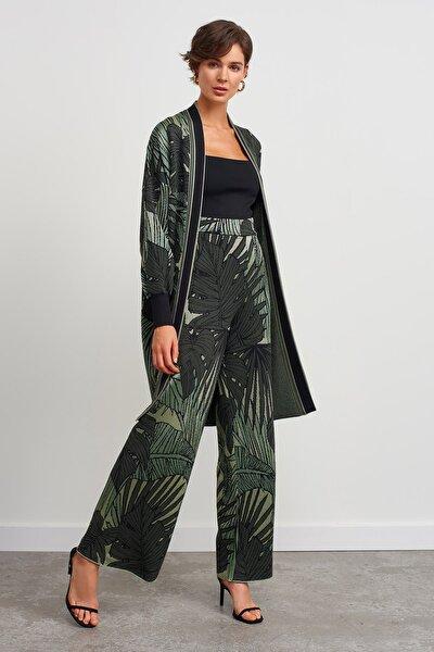 Kadın Yeşil Yaprak Desenli Pantolon