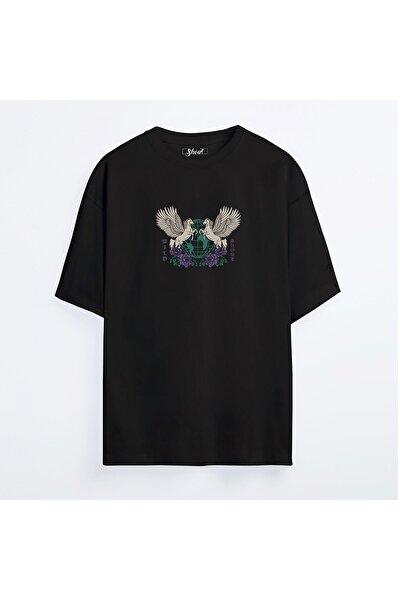 Unisex  Siyah Oversize  Pegasus World Tour Oldschool T-Shirt