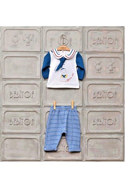 Erkek Bebek Mavi Denizci Penye İkili Takım