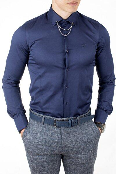 Erkek Lacivert Kol Düğmeli Klasik Gömlek