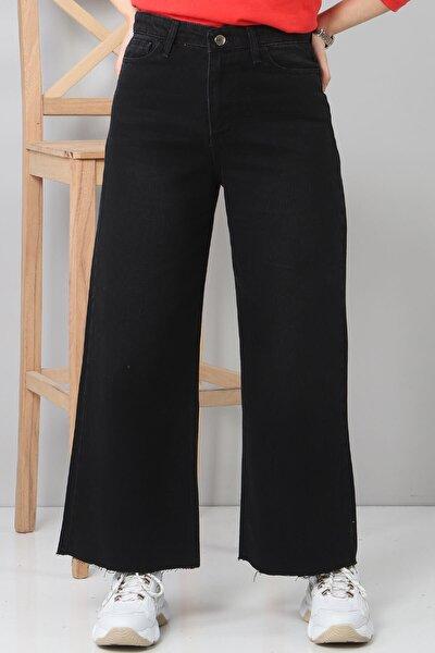 Kadın Siyah Bilek Boy Bol Paça Kot Pantolon