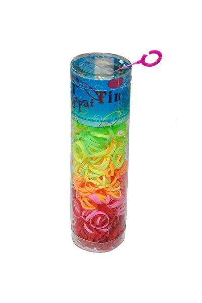 Lastik Toka - Karışık Renkli Büyük Kutuda 1,5 Cm Kız Çocuk Lastik Tüp Toka