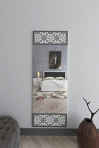 Boy Aynası - Dekoratif Antrasit Cnc Işlemeli Ayna - 140x50
