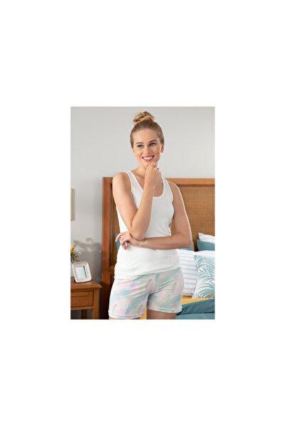 Kadın Pembe Feather Viskon Şort Pijama Takımı S