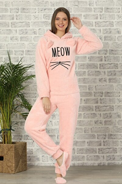 Kadın Pembe Renkli Meow Desenli Tam Peluş Pijama Takımı