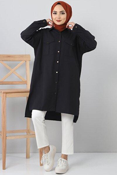 Kadın Siyah Cepli Salaş Tunik