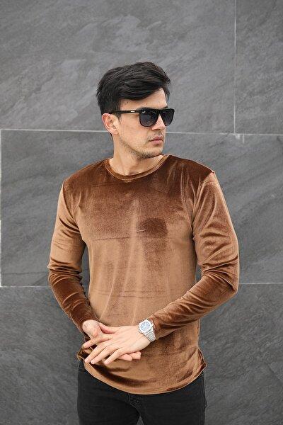 Erkek Kahverengi Kadife Uzun Kol  Sweatshirt