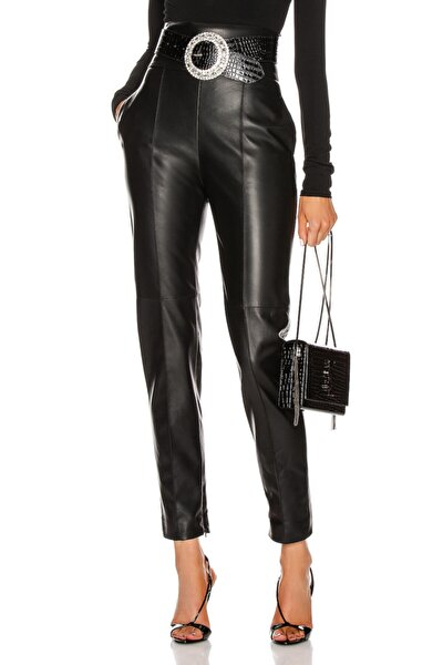 Kadın Yüksek Bel Kalın Kemerli Deri Pantolon