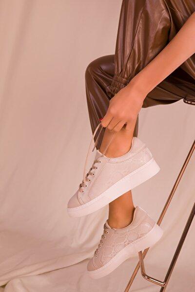 Bej Yilan Kadın Sneaker 15742