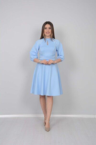 Kadın Mavi Kemer Dataylı Elbise