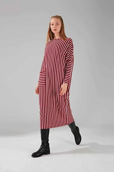 Cep Detaylı Çizgili Elbise (Bordo)